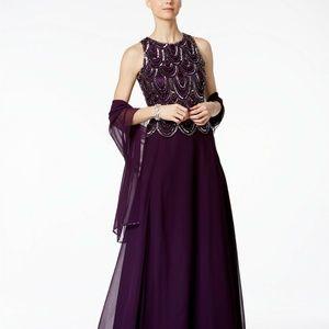 J Kara Beaded Sequins Plum A-Line Gown Dress